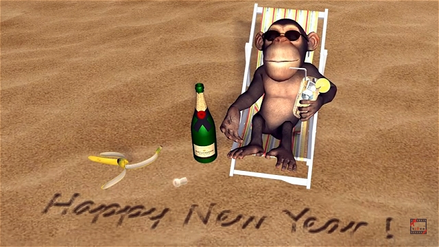 Funny Happy New Year 2016 greetings from Monkey