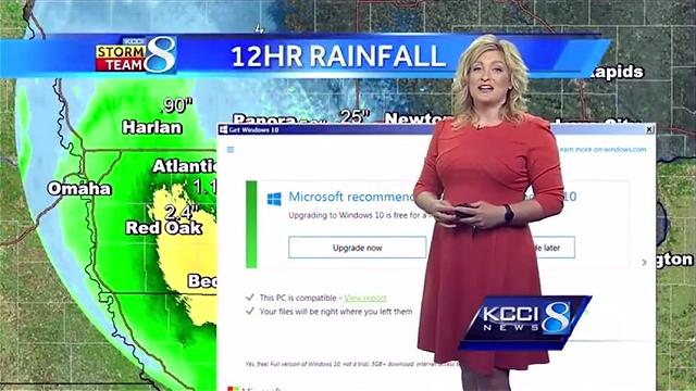 天気予報の生放送中、突然現れた「Windows10へのアップグレードをお勧めします」のメッセージ!!