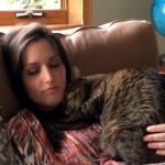 出産まで7週間を切ったママさんに急にやさしくなった猫たち