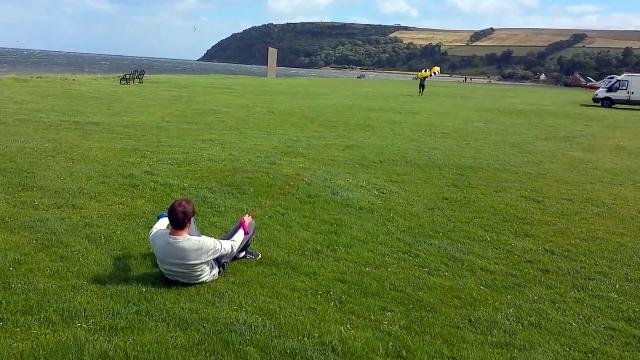 凧をあげようとした男性に起きたヒヤッとする予想外の出来事