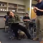 授業中に居眠りをしている生徒にイタズラを仕掛ける先生 (笑)