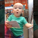 ペンキ売り場の色サンプルを見て大興奮・・・感受性の高い赤ちゃんがおもしろ可愛い