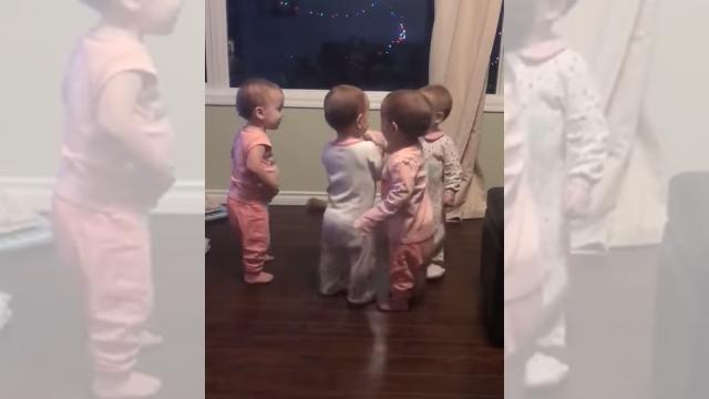 交互に抱き合う4人の赤ちゃんたちのエンドレスに続くハグが面白く可愛い!