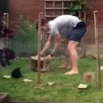 逃げるウサギを捕まえようとする飼い主の奮闘振りがおもしろい!