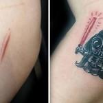 ゴージャスなものからコミカルなものまで、傷跡にタトゥーを入れてポシティブなものに変えた人々の写真
