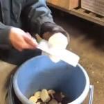 大量の餌を最速でカットする動物園飼育員の熟練技がスゴイ