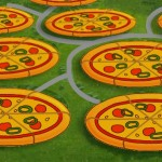 ピザを並べたようなユニークなデザインが施された住宅地がおもしろい