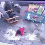 階段から落ちそうな人間の赤ちゃんを全力で守るお手柄の猫